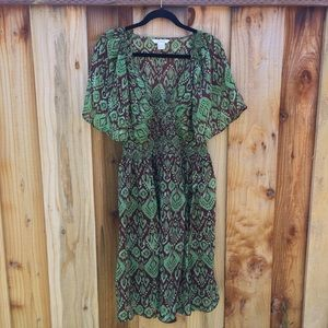 Sundance Catalogue Green Brown Ikat Silk Dress 12